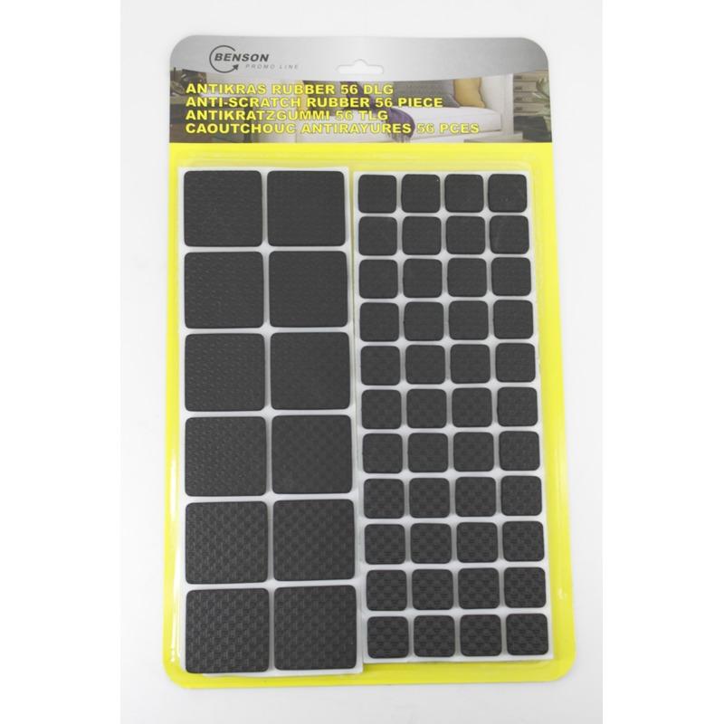 Antikras rubber vloerviltjes 56 delig zwart