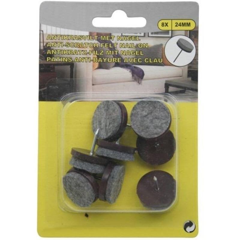Antikras vloerviltjes 8 delig met nagel bruin