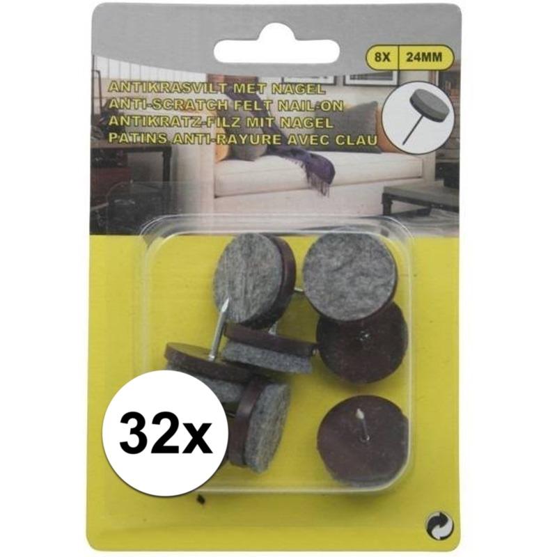 4x antikras vloerviltjes 8 delig met nagel bruin