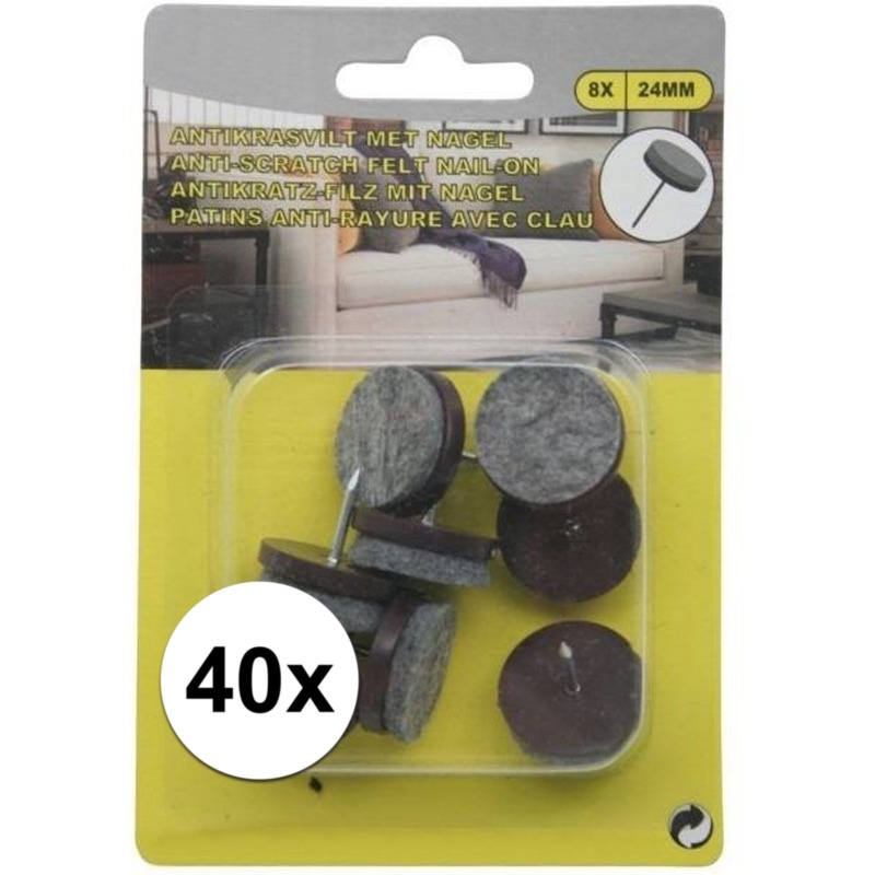 5x antikras vloerviltjes 8 delig met nagel bruin