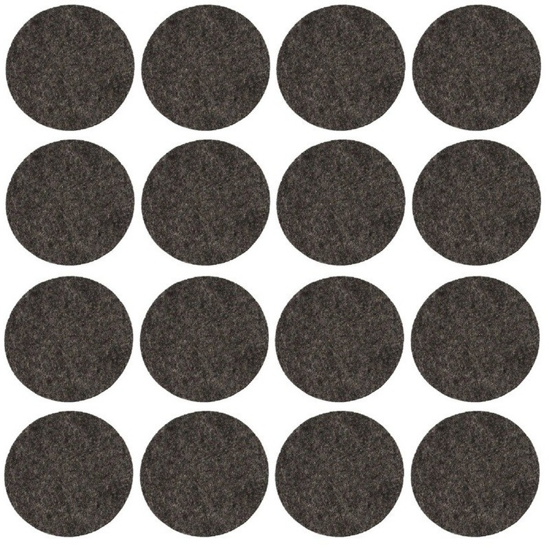 16x zwarte ronde vloerviltjesjes antislip noppen 2 6 cm