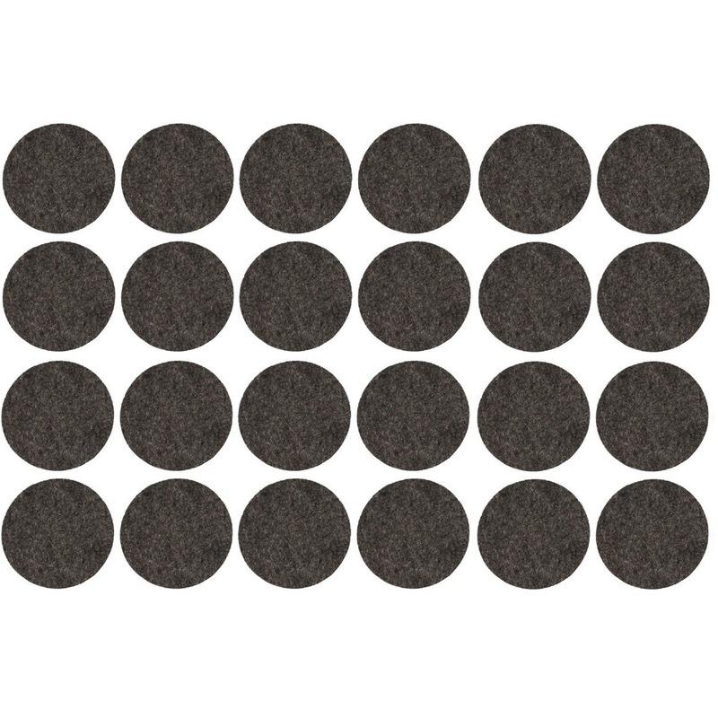 24x zwarte ronde vloerviltjesjes antislip noppen 2 6 cm