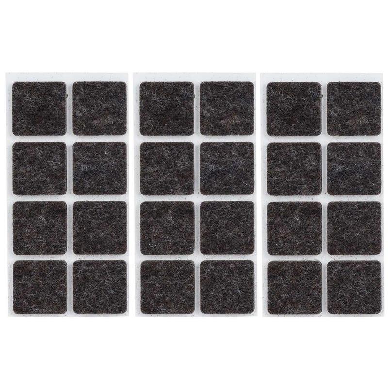 24x zwarte vierkante vloerviltjesjes antislip noppen 2 5 cm