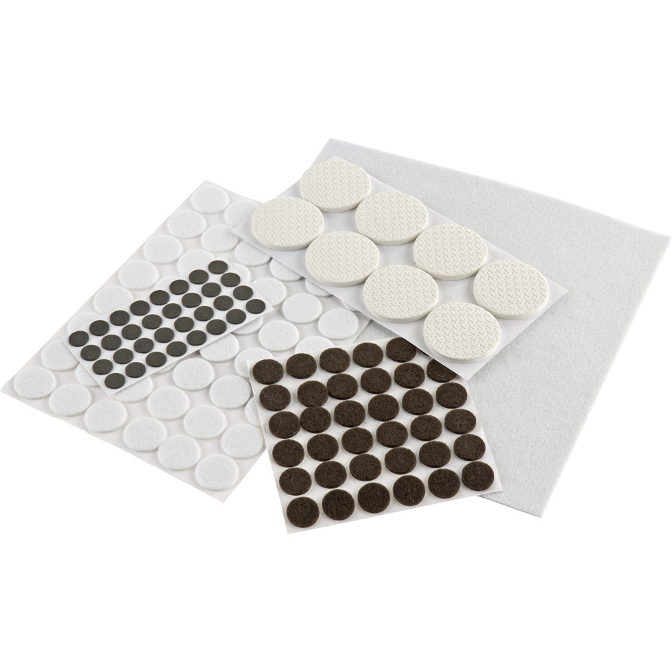 250x stuks vloerviltjesen antikras viltjes rond zwart en wit