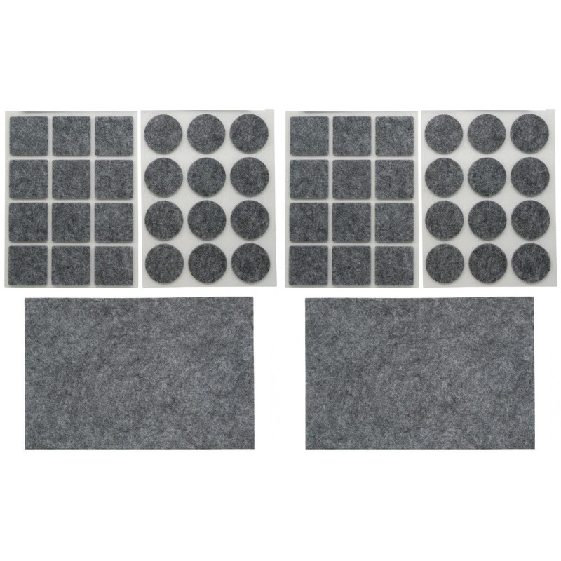 2x antikras rubber/vloerviltjes sets 25 delig grijs
