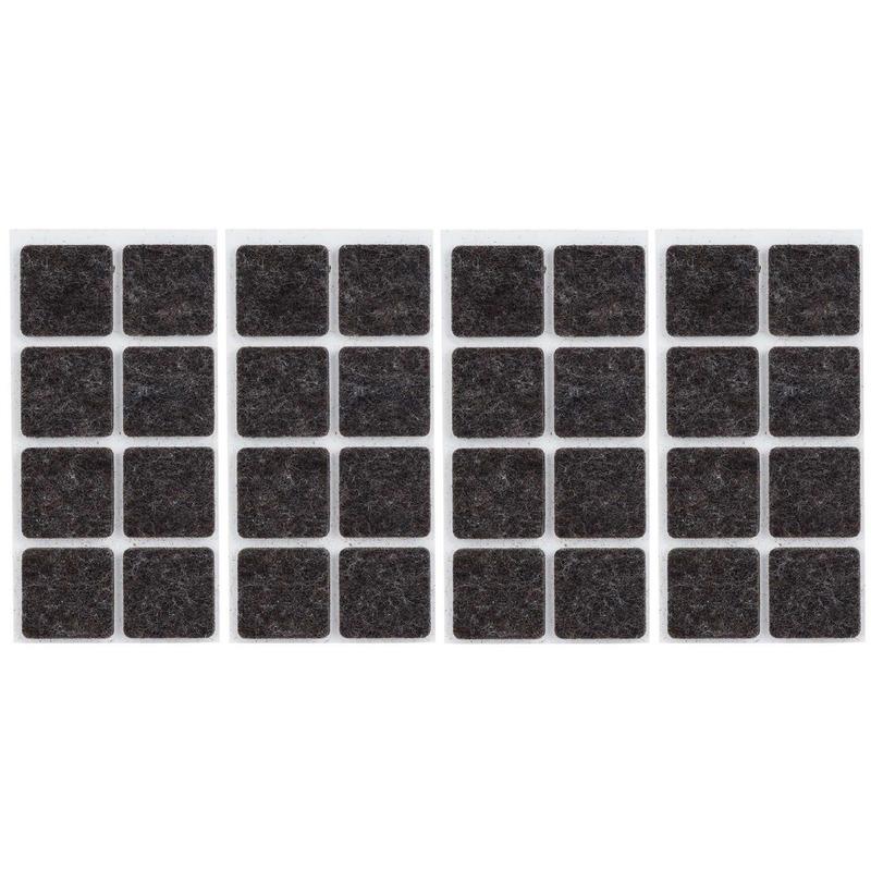 32x zwarte vierkante vloerviltjesjes antislip noppen 2 5 cm
