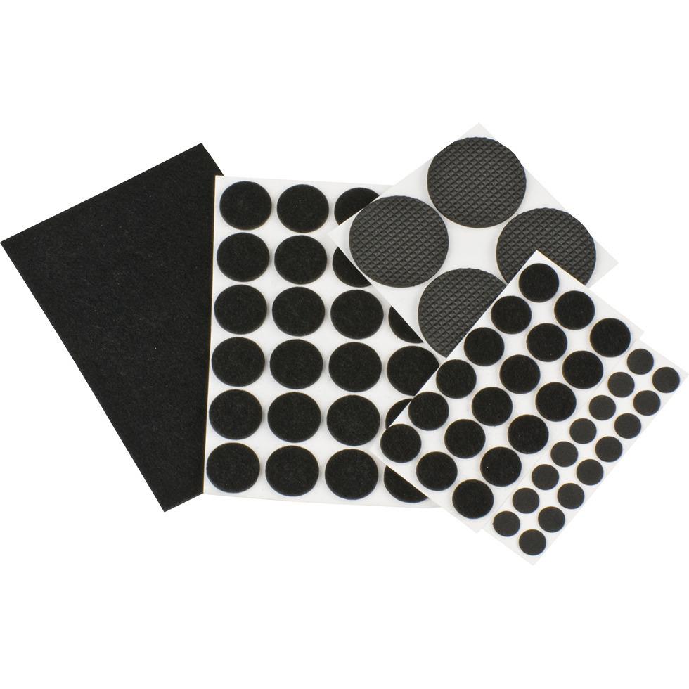63x stuks vloerviltjesen anti kras viltjes rond zwart en wit